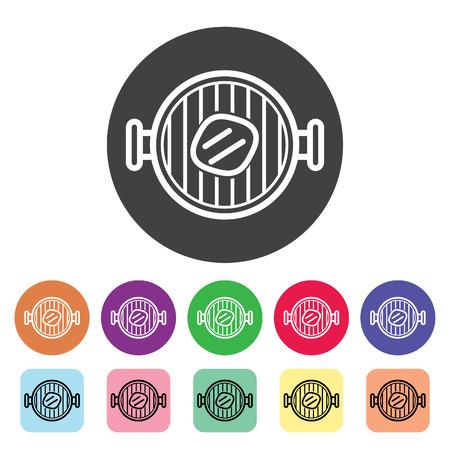 Grill outline icons set. Vector illustration. Standard-Bild - 105516841