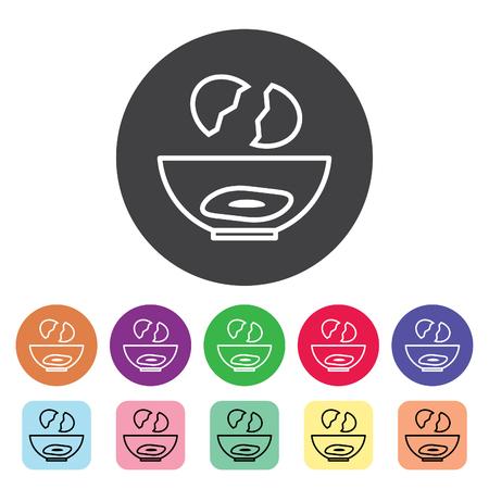 Cracked egg outline icons set. Vector illustration. Standard-Bild - 105516839