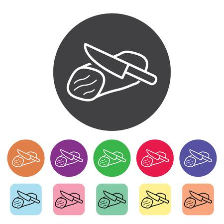 Beef sliced outline icons set. Vector illustration.