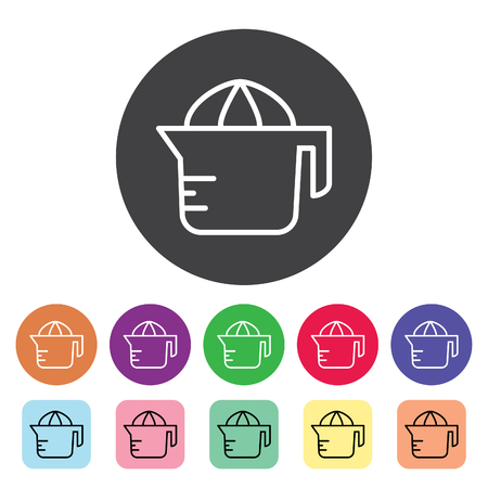 Juicer outline icons set. Vector illustration. Stock Illustratie