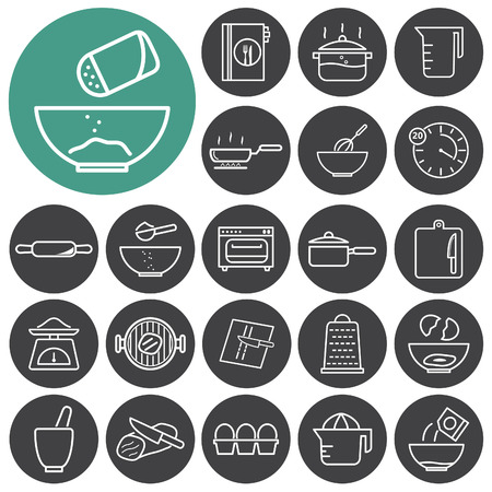 Cooking, restaurant and kitchen outline icons collection. Vector illustration.