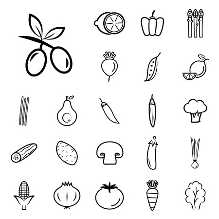 Vegetables icons collection. Vector illustration. Çizim
