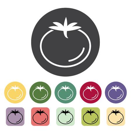 Tomato icon collection. Vector illustration. Çizim