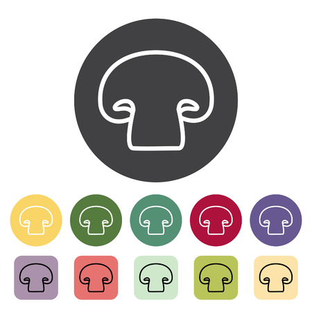 Champignon mushroom icon collection. Vector illustration.