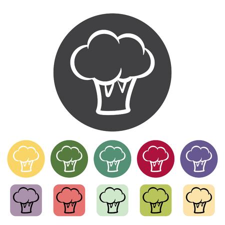Broccoli, Cauliflower icon collection. Vector illustration.