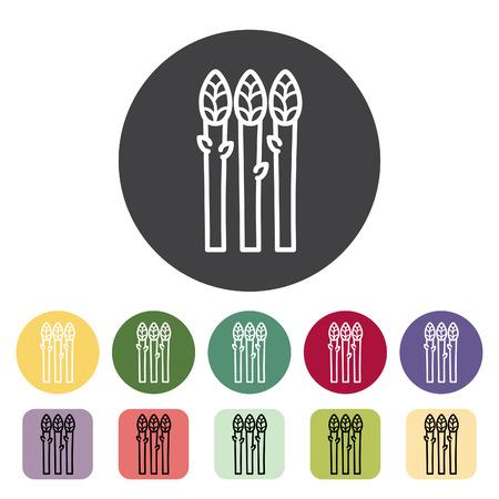 Kolekcja ikon szparagów. Ilustracja wektorowa.