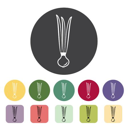 Spring onion icon collection. Vector illustration. Çizim