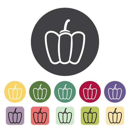 Bell pepper icon collection. Vector illustration.