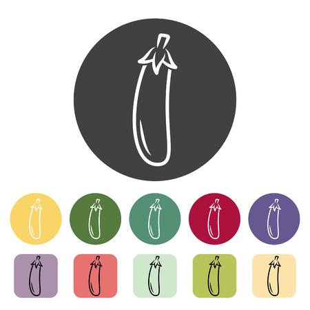 Eggplant icon collection. Vector illustration.