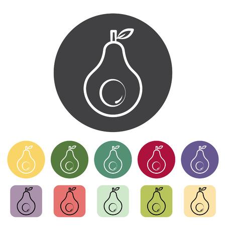 Avocado icon collection. Vector illustration. Standard-Bild - 107174734