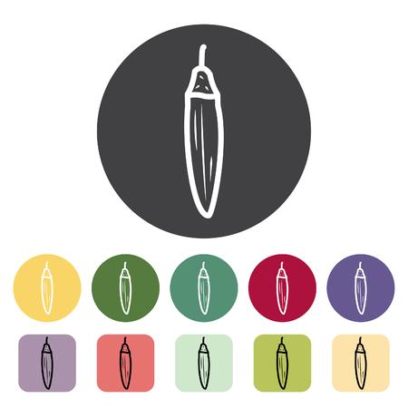Okra icon collection. Vector illustration. Çizim