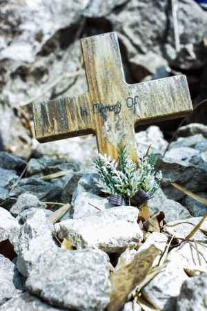 appeared: A crucifix pitches to appeared a stone