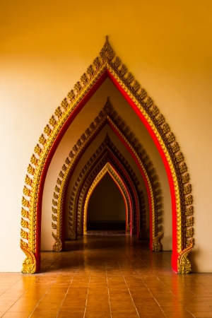 historic world event: It has a multi tunnel door in the thai church at Thailand  Editorial