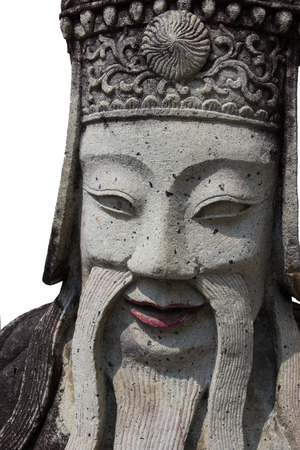 stone Chinese soldier statue at Wat Po is smile  photo