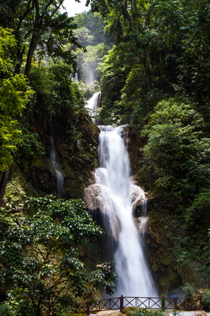 LUANG PRABANG, LAOS : The Kuang Si Falls. The falls begin in shallow pools atop a steep hillside. photo