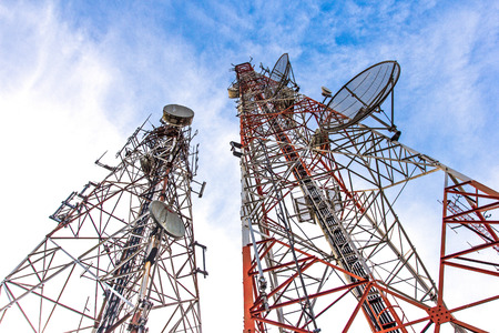 characterized: telecommunication tower It is characterized by high towers made of steel  Used to transmit television signals  Stock Photo