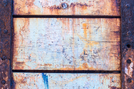 Old wood background texture  Vintage warehouse door and metal element  Rural architecture  photo