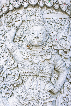 ming: White demon guardian at Ming Mueang temple, Nan province, Thailand