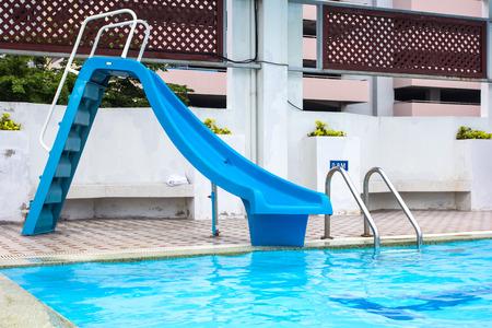 slipway: Water slider in swimming pool