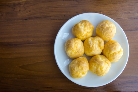 creampuff: Cream Puffs on the plate. For Coffee and tea break.