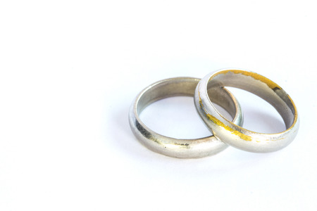 vows: Couple silver rings. Isolated render on a white background Stock Photo
