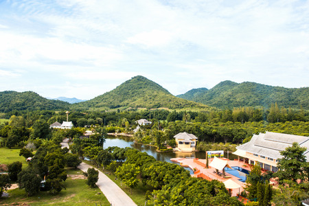 moutains: Greenery natural of  landscape with moutains and building in Suan Phueng, Ratchaburi province, Thailand Stock Photo