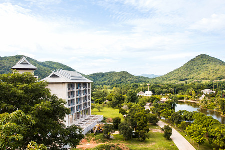 moutains: Greenery natural of  landscape with moutains and building in Suan Phueng, Ratchaburi province, Thailand Editorial