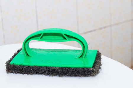 toilet brush: Toilet brush in the bathroom