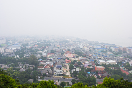 particulate: Blur Smoke from forest fires covered city Stock Photo
