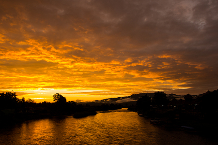 chaingmai: Silhouette of Kok river with beautiful sky on suset, Chaingmai, Thailand at Mae Ai district, Chaingmai, Thailand