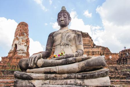 angkor wat: Big buddha statue at Wat Mahathat temple, Ayutthaya, Thailand Stock Photo