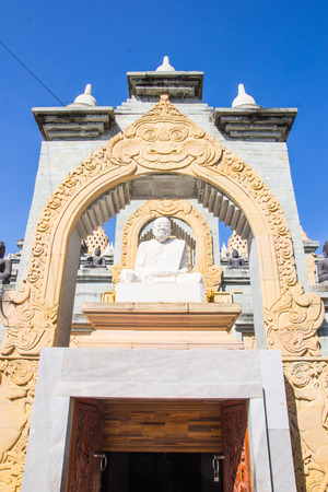 sacral: Sandstone Pagoda in Pa Kung Temple at Roi Et of Thailand