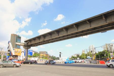 demolishing: BANGKOK, THAILAND - NOV21, 2015: Demolishing concrete bridge crossing intersection for construction of a sky train in Bangkok, Thailand.
