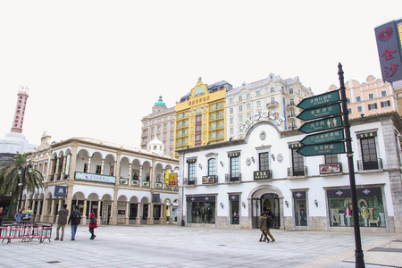reconstituted: MACAU, CHINA - DEC06, 2015: Main Street entertainment complex in Macau Fishermans Wharf. Macau is the gambling capital of Asia.