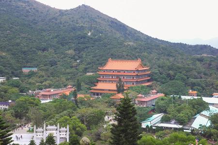 HONG KONG, CHINA - DEC08, 2015: Ngong Ping Village is set on a 1.5 hectare site on Lantau Island, adjacent to Ngong Ping Cable Car Terminal and the Tian Tan Buddha Statue.