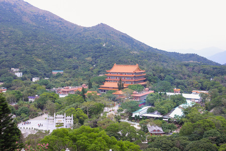 hectare: HONG KONG, CHINA - DEC08, 2015: Ngong Ping Village is set on a 1.5 hectare site on Lantau Island, adjacent to Ngong Ping Cable Car Terminal and the Tian Tan Buddha Statue.
