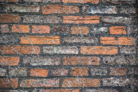 Ancient red bricks wall background and texture 스톡 콘텐츠