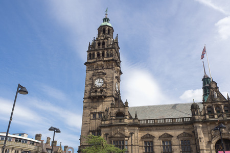 Clock Tower in Sheffield city, England 스톡 콘텐츠