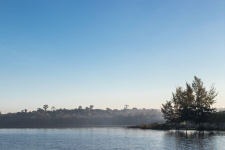 Beautiful marsh in local of Thailand with morning mist.  Stockfoto