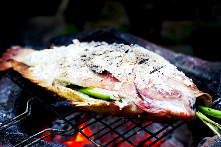 fish fire: grilled fish with salt on fire. Stock Photo