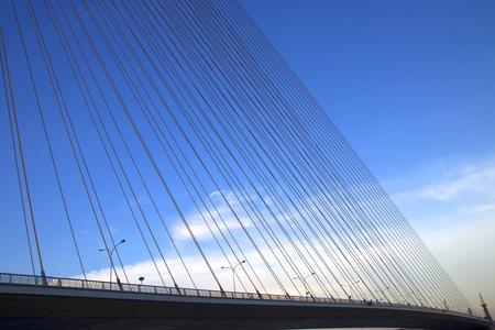 A rope bridge in Bangkok city and blue sky