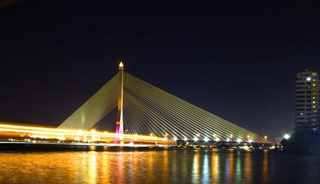 rama 8 suspension bridge at night
