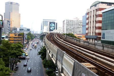 Bangkok-Thailand Sep 12 2017: BTS Sky train mass transit system in Bangkok to help facilitate and speed the journey. With the traffic jams in the evening after work