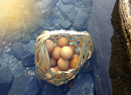 Boiled eggs in natural hot spring, eggs in basket,Soft focus,Select focus.