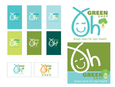 Oh green shop logo and card set , vector design for your organic shop, for natural shop