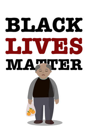 Black Lives Matter. Standing skin color men and text Black lives matter on white background.Claim symbol To stop racism in this world.