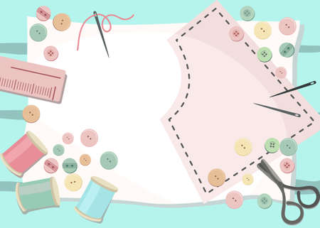 Top view of Work space on the desk with Studs , thread tubes, scissors, ruler and sewing pattern on pastel color Background.Handcraft and pastel color concept. Flat layout design.