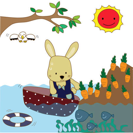 rabbit rows the boat to pick carrot Illustration
