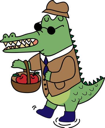 crocodile in suite Illustration