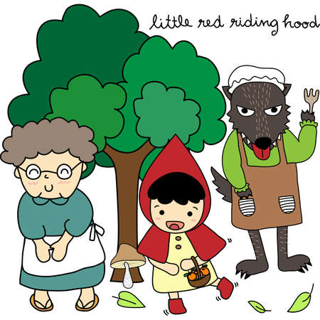 little red riding hood: Little Red Riding Hood Family Illustration